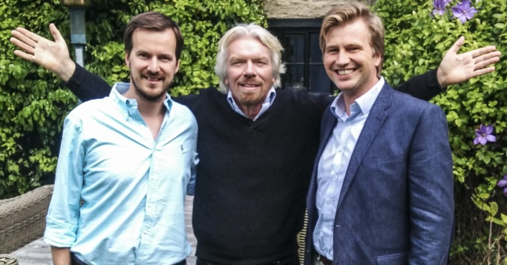 Richard Branson with TransferWise cofounders Taavet Hinrikus, left, and Kristo Kaarmann