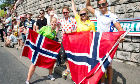 Boasson Hagen is gone, but these Norwegian fans plan to carry on all the way to Paris. Photo: Casey B. Gibson | www.cbgphoto.com