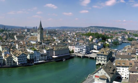 Pano-Zurich-CityScape-FromGrossMunster-RiverSide