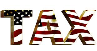 Tax with flag font